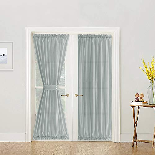 Gray French Door Curtains Rod Pocket Grey Faux Silk Panels 72 inch Long Satin Curtain Panels with 1 Tiebacks 1 Panel