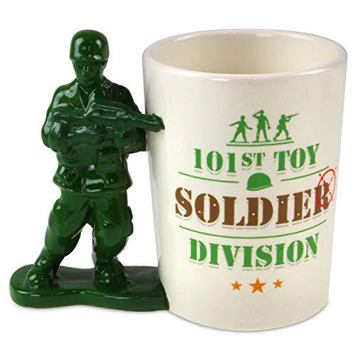 Juguete soldado con pistola en forma de mango de cerámica taza