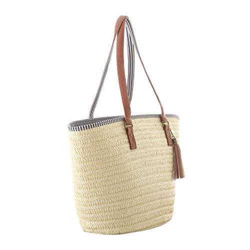 SeOSTO Women's Straw Tassel Leisure Holiday Handbag Small volume and large capacity