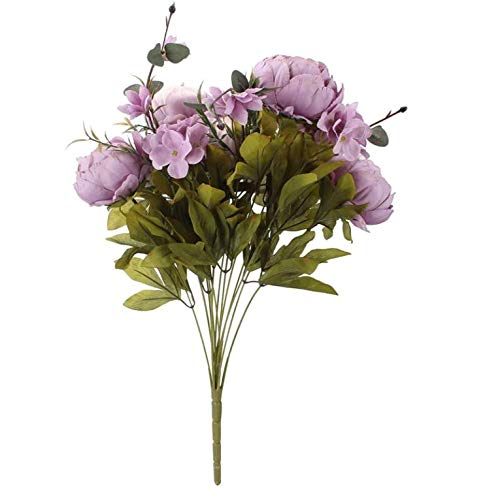 Artificial Flowers, Fake Peony Flowers Bouquet Silk Flowers for Wedding Home Decoration,Purple