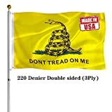 HYPOYH Double Sided Gadsden Flag 3x5 Outdoor- UV Fade Resistant 3Ply Dont Tread On Me Flags Banner- Libertarian Flag Canvas Header with Powerful Snake