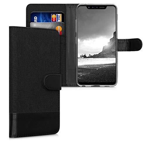kwmobile Wallet Hülle kompatibel mit LG G8s ThinQ - Hülle mit Ständer - Handyhülle Kartenfächer Anthrazit Schwarz
