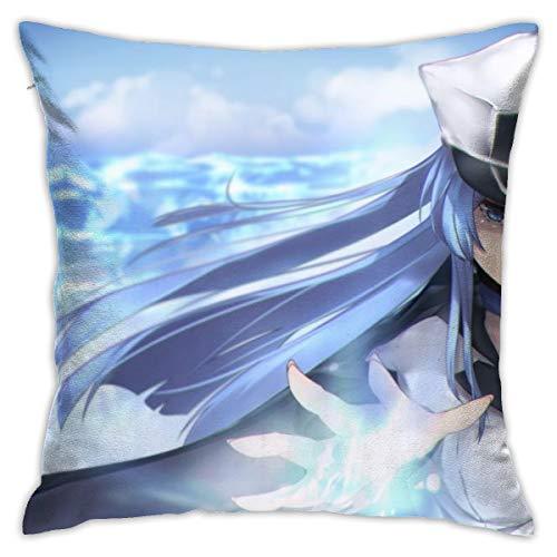 Funda de almohada CVDGSAD Anime Girls Ak-ame Ga Kill Esdeath Cleavage tatuaje pelo largo azul ojos camisa abierta 18 x 18 pulgadas manta decorativa funda de almohada funda de almohada