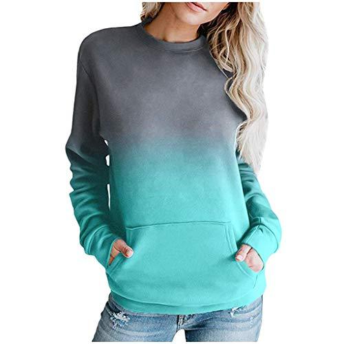 Alwayswin Damen Mode O-Ausschnitt Sweatshirt Kontrastfarbe Pocket Pullover Elegant Langarm Bluse Top Herbst und Winter Langarmshirts Beiläufige Wild Lange Hülsen Oberteil T-Shirt