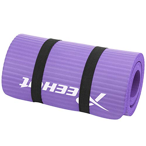 REEHUT Exercise Mat Yoga Knee and Elbow Pad 15mm Thick with Strap- Mini Mat Cushion Pressure Points for Fitness Pilates, Fitness Stretching, Home & Gym(Purple