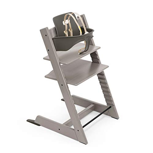 Tripp Trapp High Chair from Stokke, Oak Greywash - Adjustable, Convertible Chair for Toddlers, Children & Adults - Includes Baby Set with Removable Harness for Ages 6-36 Months - Made with Oak Wood