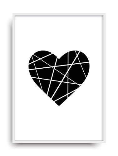 ALEMARG Fine Art Kunstdruck Origami Herz Poster Print Plakat Moderne Vintage Deko Bild ungerahmt DIN A4 Geschenk