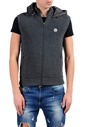Moncler Men's Wool Down Gray Hooded Full Zip Vest Size US M IT 50