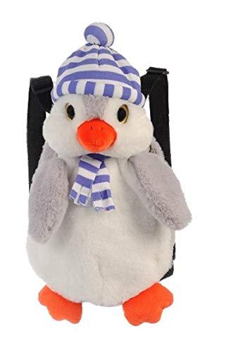 Kinderrucksack ohne Brustgurt aus Plüsch weich - süßer niedlicher Pinguin Rucksack - 1-3 Jährige Jungen und Mädchen im Kindergarten oder Kita (lila-weiß gestreifter Mütze)