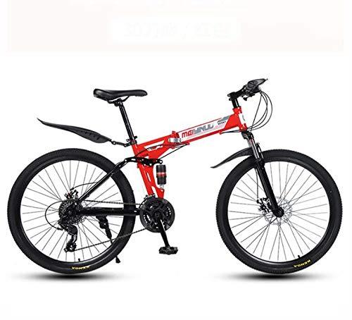 LJLYL Klappbares Mountainbike-Fahrrad für Erwachsene Männer und Frauen, Doppelaufhängungsrahmen aus Kohlenstoffstahl, PVC-Pedale und Gummigriffe,Rot,26 inch 24 Speed