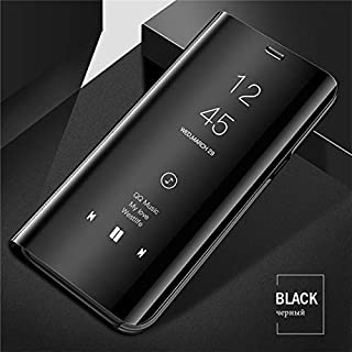 Winning Products Redmi Note 7 pro(Mi) Mirror Clear View Flip Phone Case for Redmi Note 7 pro(Mi) (Black) [Non-Sensor]