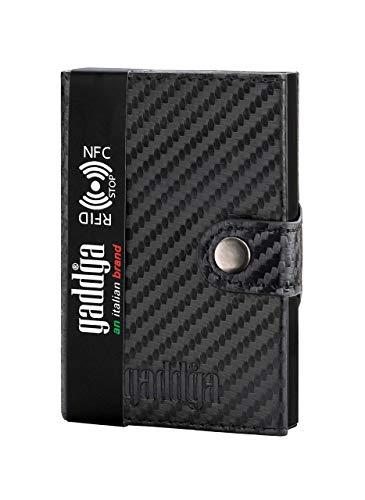 Carteras Tarjeteros para Tarjetas de Credito para Hombre gaddga Metalico Antifraude Bloqueo RFID y NFC Porta Tarjetas de Crédito Billetes, de Cuero PU y Fibra de Carbono Mujer Pequeña Negro Clip