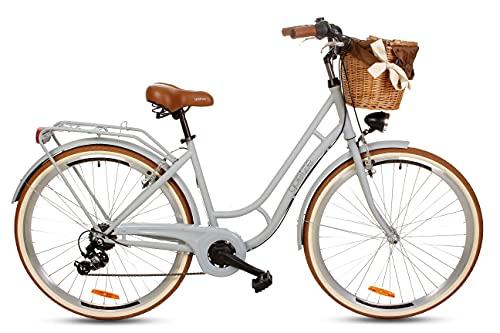 Goetze Retro Damenfahrrad Stillvoll Vintage Holland Citybike, 28 Zoll Alu Räder, 7 Gang Shimano Tourney Schaltung, Tiefeinstieger, Korb mit Polsterung Gratis!