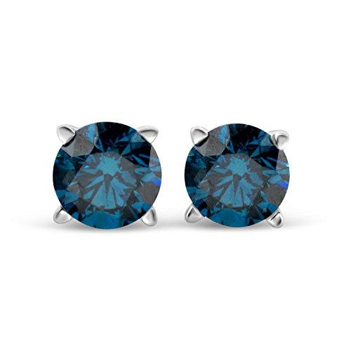 IGI Certified 3/4 Carat TW Blue Diamond Round Stud Earrings 14k in White Gold