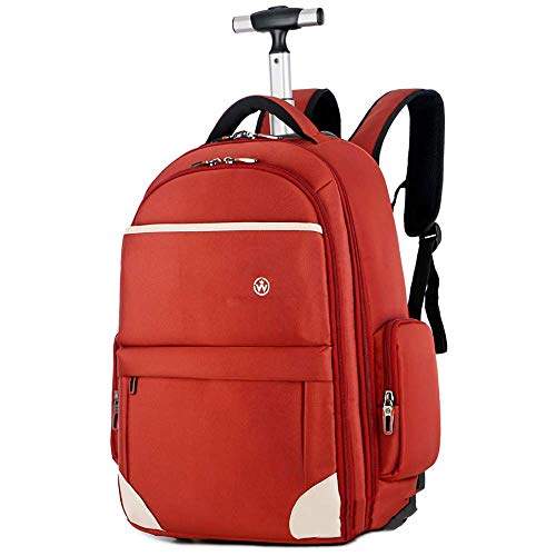 LQH Trolley Bag Rolling backpack for Adult School Bag Baggage Backpack with Wheels Travel Camping Waterproof Lightweight Boys Backpack (Color : Red, Size : 21inch)