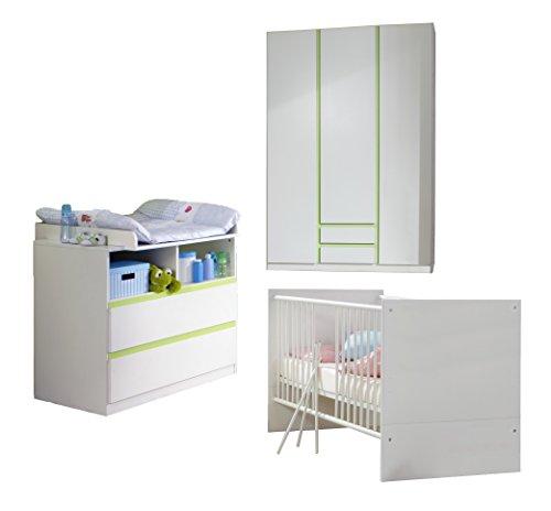 Wimex Babyzimmer Set Bibi, bestehend aus Kleiderschrank Babybett, Wickelkommode, Liegefläche 70 x 140 cm, Alpinweiß/ Absetzung Apfelgrün