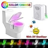 Lampe Toilette Veilleuse –Rantizon Lampe Toilette LED Détecteur avec Désinfection UV, Lumières...