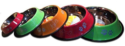 Pet Tribe Bol pour chiens et chats Vert décoré, capacité 950 ml, en acier avec antidérapant en caoutchouc