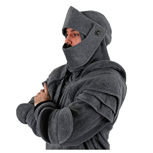 VPASS Abrigo Hombre Invierno,Disfraz de Armadura de Caballero con Capucha de Medieval para Hombre Sudadera de Manga Larga con Capucha y Bolsillos (Gris, M)