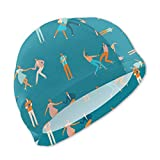Badekappe, Badehut, Dancing Couples People Blue Swim Caps for Kids Boys and Girls Baby Bathing Caps for Long and Short Hair