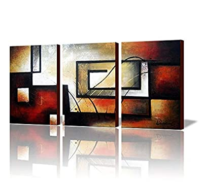 ARTLAND Modern 100% Hand Painted Abstract Oil Painting on Canvas The Maze of Memory 3-Piece Gallery-Wrapped Framed Wall Art Ready to Hang for Living Room for Wall Decor Home Decoration 36x72inches by ARTLAND