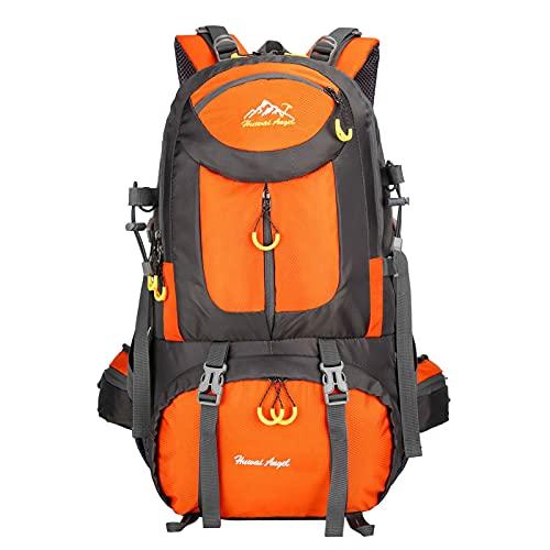 HMHMVM Zaino per escursionisti Zaino da Pesca da Viaggio Impermeabile Arrampicata Camping Daypack,Arancia,50L