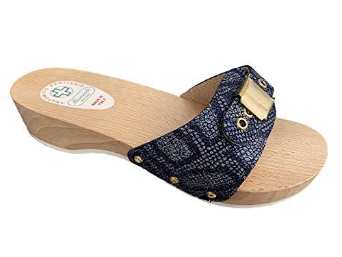 Bocciolo Zueco de mujer anatómico de madera Empeine de piel estampada con cierre de cajón, 3,5 cm, fabricado en Italia, artículo 449 Azul Size: 38 EU