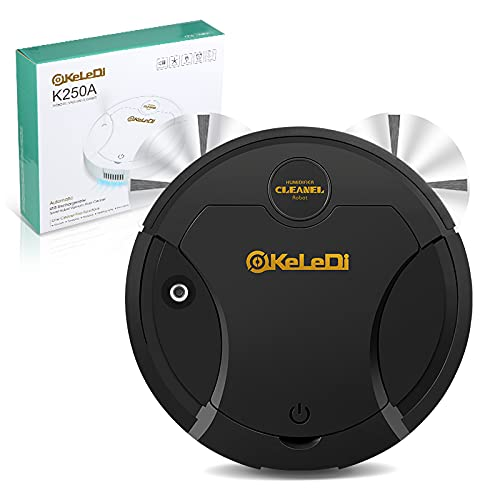 Robot Vacuum Cleaner, 3 in 1 Mopping Robot Vacuum Cleaner with 1800Pa Suction, Multiple Cleaning Modes Ideal for Hardwood Floor & Marble, Tile (Black)