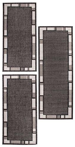 andiamo Louisville Webteppich Bettvorleger Teppichläufer Läuferset Brücke 1x67cmx180cm-2x67cmx140cm Bettumrandung, Polypropylen, Bordüre anthrazit/Silber, 3er Set