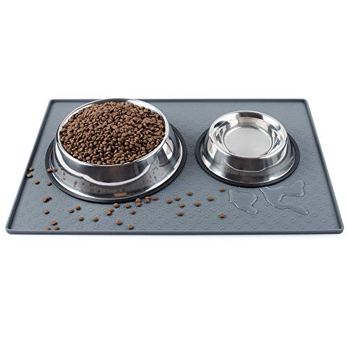 Coomazy Perro Gato Comederos y bebederos Tapetes para comer, antideslizante impermeable para alimentación de mascotas para detener los derrames de comida para gatos(60x40cm, Gris)