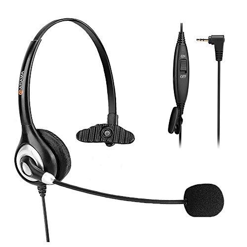 2,5mmTelefon Headset, SchnurlosTelefon-Headset mit Noise Cancelling Mikrofon für AT & T Panasonic Vtech Uniden Cisco Grandstream Polycom- und schnurlose Dect-Telefone