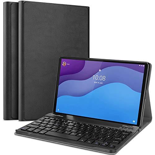 ProCase Custodia Tastiera per Lenovo Tab M10 HD 2nd Gen 10.1  2020 Smart Tab M10 HD 2nd Gen(TB-X306X TB-X306F)[Inglese Layout], Sottile Leggera Shell con Tastiera Wireless Staccabile Magnetica –Nero