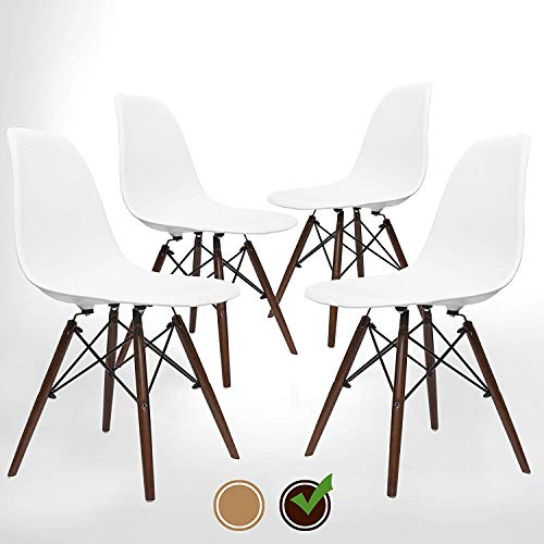 UrbanMod Mid Century Modern Style Chairs The 'Easy Assemble DSW Ergoflex Abs Plastic and 'One Wipe Wonder' Cleaning Comfortable Dining Meets 5-Star, Set of 4 (Walnut)