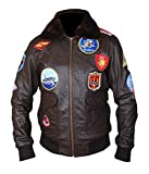 Zirtash Event Biker Leder Basic Motorradjacke mit Taschen, für Herren, Black Top Gun Jacket