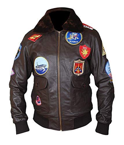 Zirtash Event Biker Leather Basic Motorcycle Jacket with Pockets, for Men, Black Top Gun Jacket