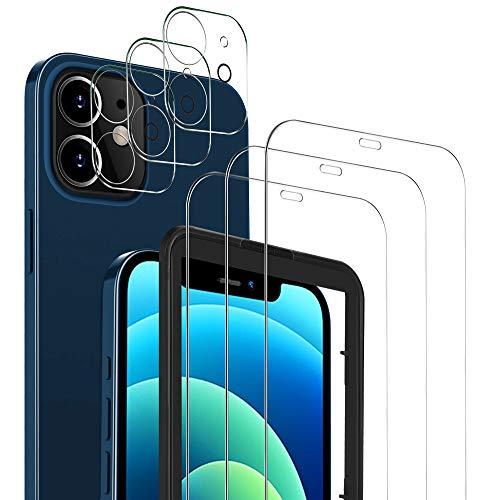 MSOVA Schutzfolie Kompatibel mit iPhone 12 Panzerglasfolie/Kamera Panzerglasfolie, 3 Stück 9H Hartglas Anti-Staub Displayfolie Kompatibel mit iPhone 12 6.1 Schutzfolie.