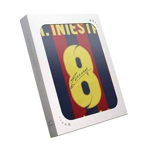 Andres Iniesta Signed Barcelona Soccer Jersey 2013-14. In Gift Box | Autographed Sport Memorabilia