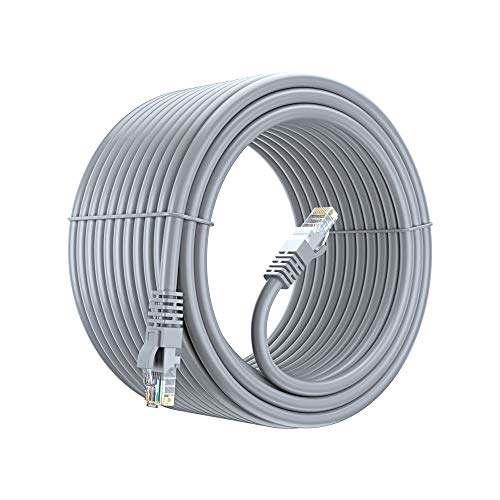 Cat6 Ethernet Cable, 100 Ft Pure Copper, UL Listed, LAN, Utp, Cat 6, RJ45, Network, Internet Cable – Gray, 100 Foot.