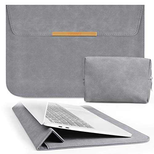 TOWOOZ 13.3 Inch Laptop Sleeve Case Compatible with 2016-2020 MacBook Air/MacBook Pro 13-13.3 inch/iPad Pro 12.9 / Dell XPS 13/ Surface Pro X, PU Leather Bag (13-13.3, Dark Gray)