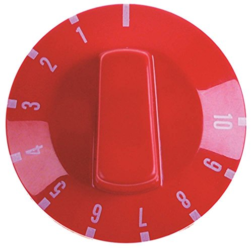ITALFORNI Knebel für Pizzaofen TK-2B für Thermostat ø 49mm Symbol 1-10 für Achse ø 6x4,6mm mit Abflachung oben rot