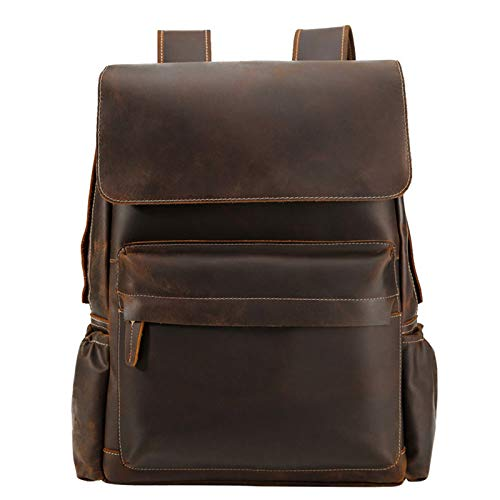 LICHUXIN Vintage Men's Leather Backpack,Large-Capacity Business Computer Bag Backpack, Outdoor Travel And Leisure Office Backpack,B