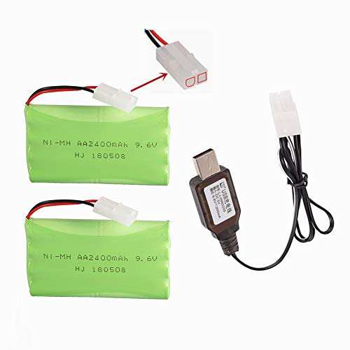 9.6V 2400mAh NiMH Battery Pack Rechargeable AA Battery with Standard Tamiya Connector for RC Car RC Truck Tank Vehicles 2 Pack with USB Charger
