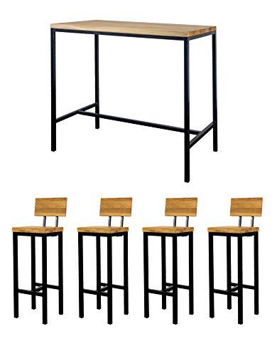 LOFTSTORY barset voor 2-4 personen, tafel + 2 of 4 barkrukken, massief eikenhout, industriële loft moderne vintage poten staal ijzer zwart Mesa 4 personas 4 Taburetes con respaldo