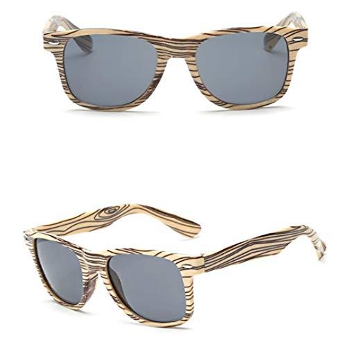 Erjialiu Gafas de Sol de Moda para Mujer Estilo de Verano Gafas de Sol Vintage Gafas de Sol de imitación de Madera de Marca, Style 2