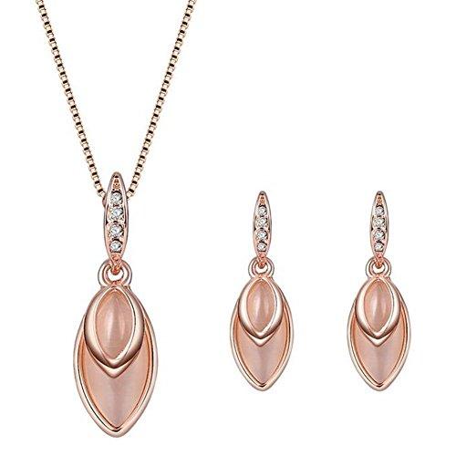 ARMAC Juego de collar con colgante de cristal en forma de gota para mujer, collar y pendientes