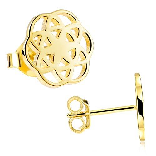 MATERIA Blumen Ohrringe Gold Stecker - Goldohrringe Modeschmuck Lebensblume vergoldet SO-384-Gold