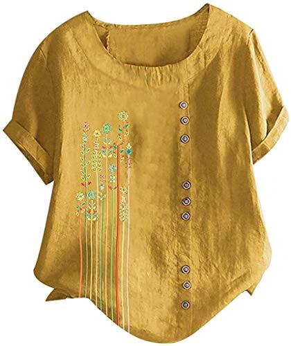 pingrog Damen Sweathshirt Tops Drucken Kurzarm Rundkragen Knopf T Shirt Bluse Sommer...