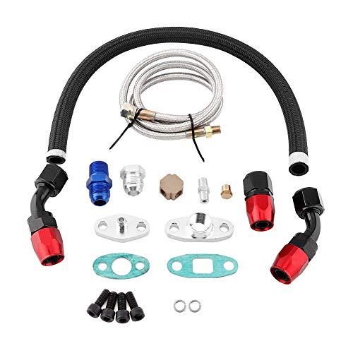 Kit completo de alimentación del aceite de la línea de retorno del drenaje del aceite del turbocompresor, Akozon Kit de brida de adaptador de montaje AN10 Para T3 T4 GT35 T70 T66 Turbo