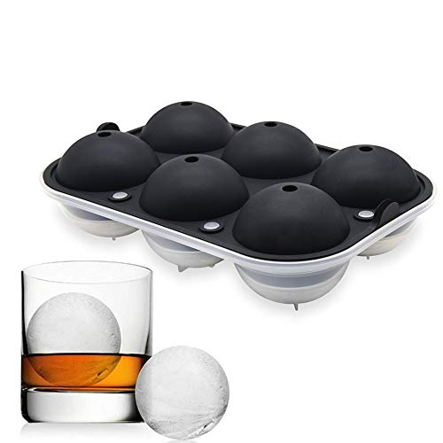 KARP Flexible Silicone Spherical Round Ball Ice Cube Tray Maker Mould with Lid for Whiskey Lovers Cocktails (6 Cavity Black)