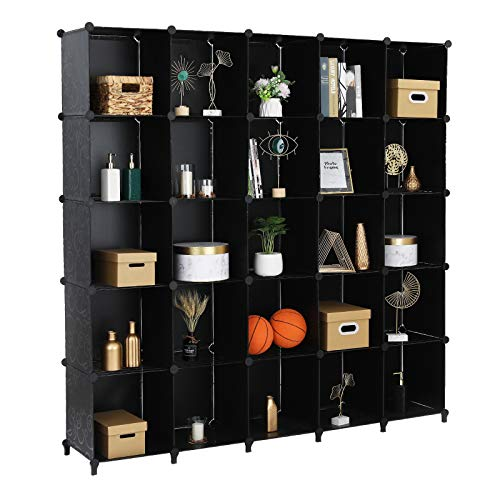 VINGLI DIY Wire Cube Storage 25-Cube Metal Grids Bookshelf Modular Shelving Units Stackable Storage Bins Ideal for Living Room Bedroom Home Office
